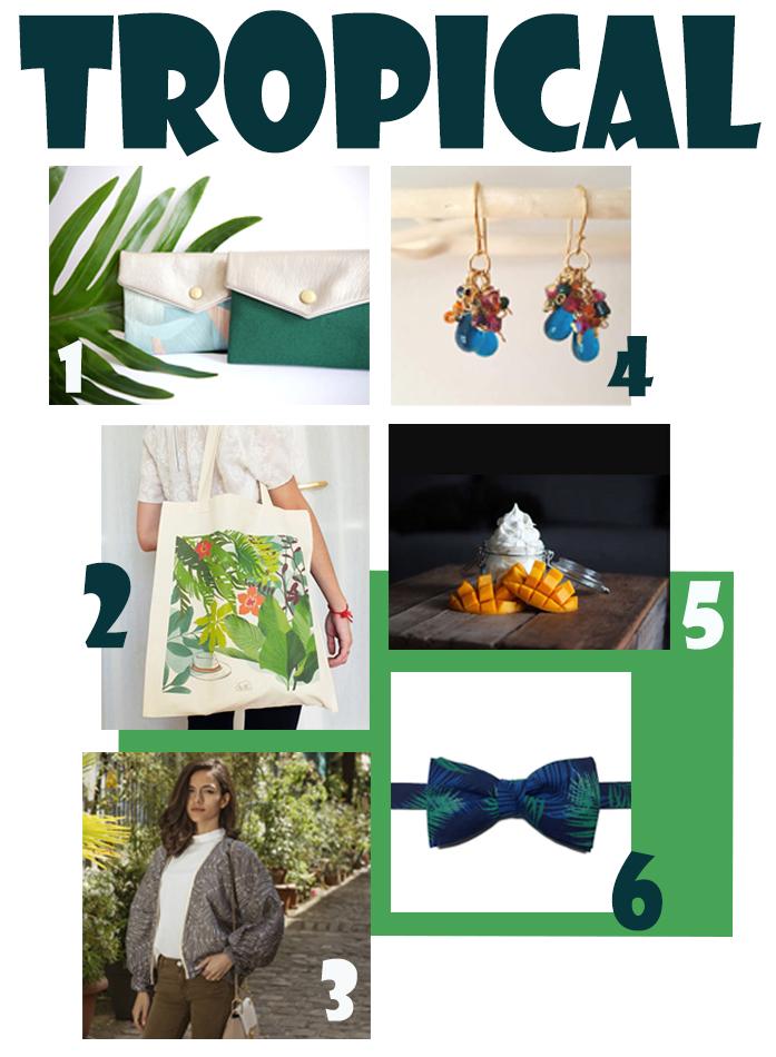 accessoires de mode sur le thème du tropical, sac à main, boucles d'oreille, tote bag, noeud papillon, bombers, crème hydratante