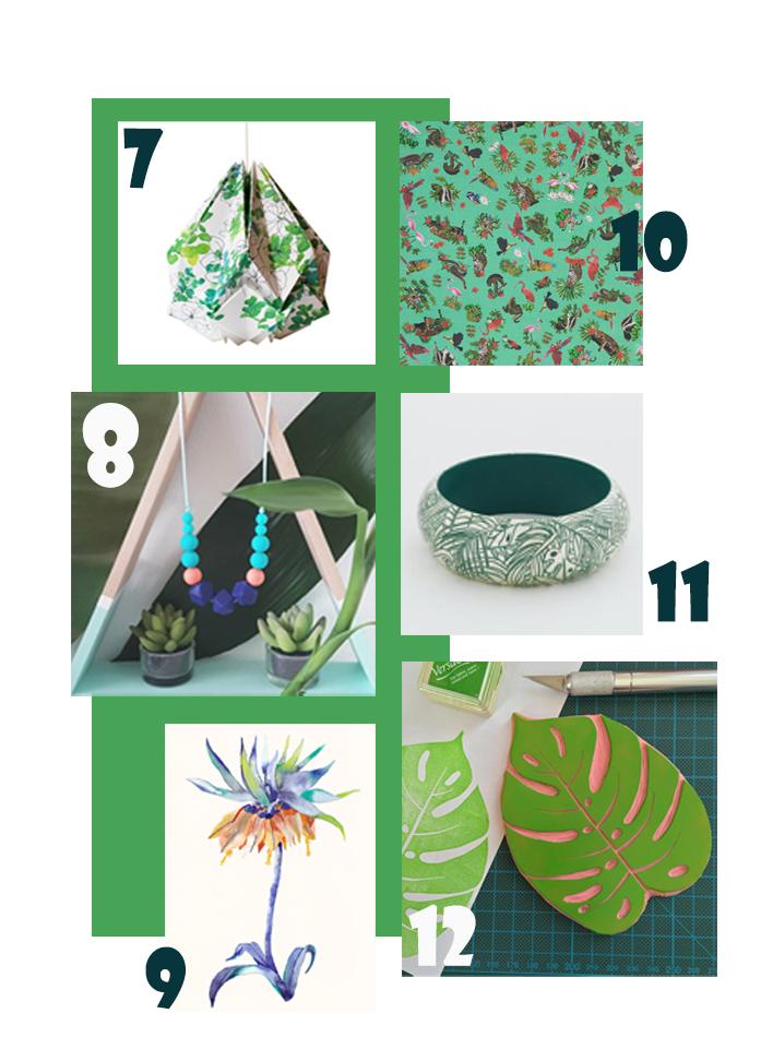 accessoires de mode sur le thème du tropical, luminaire, foulard, collier, bracelet, illustration, tampon en gomme feuille de philodendron