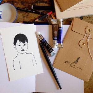 Plume de Marin, style mi-croquis mi-naïf se décline en pin's, illustrations, sacs et vêtements
